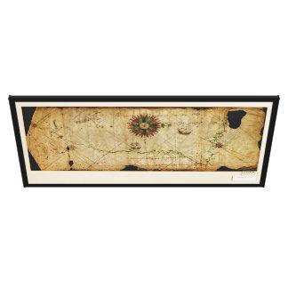 Portolan Chart Pacific Coast Map circa 1500 Canvas Prints