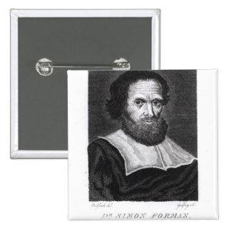 Portrait Dr Simon Forman  engraved by Godfrey 15 Cm Square Badge