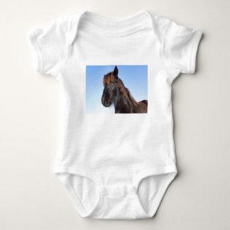 Portrait head of black Frisian horse Baby Bodysuit