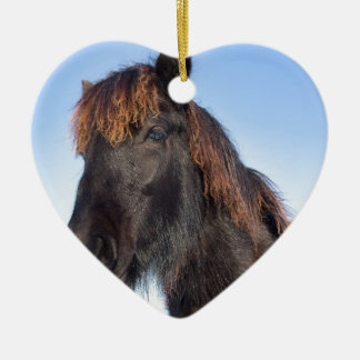 Portrait head of black Frisian horse Ceramic Heart Decoration
