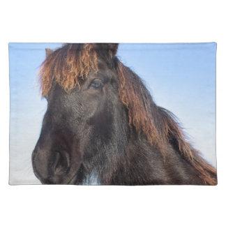 Portrait head of black Frisian horse Placemat