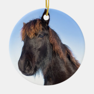 Portrait head of black Frisian horse Round Ceramic Decoration