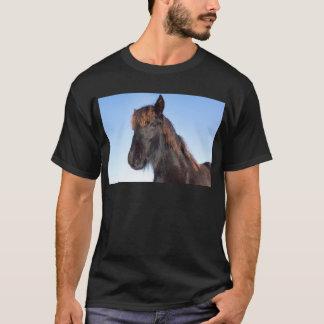 Portrait head of black Frisian horse T-Shirt