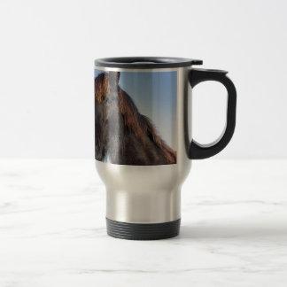 Portrait head of black Frisian horse Travel Mug