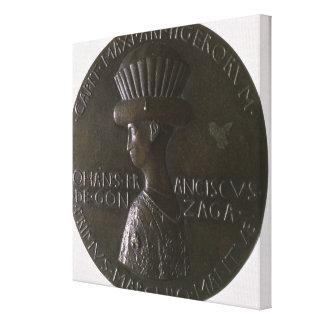 Portrait medal depicting Gianfrancesco Gonzaga (13 Stretched Canvas Print