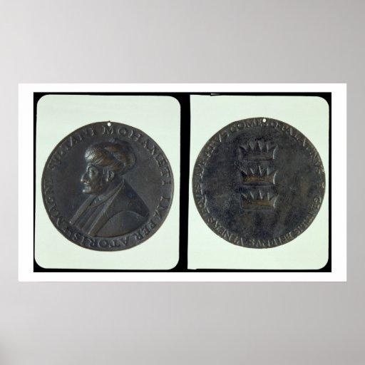 Portrait medal, obverse depicting Sultan Mehmed II Posters