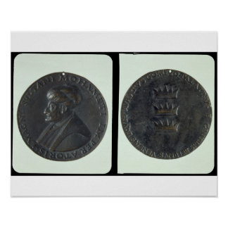 Portrait medal, obverse depicting Sultan Mehmed II Poster