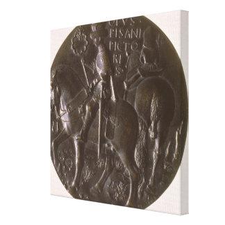 Portrait medal, reverse depicting Gianfrancesco Go Canvas Print