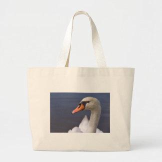 Portrait mute swan large tote bag