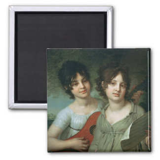Portrait of A. and V. Gagarin, 1802 Square Magnet