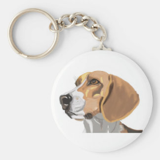 Portrait of a Beagle Head Key Ring