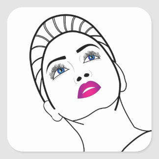 Portrait of a beautiful lady in pink lipstick square sticker