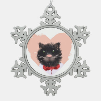 Portrait of a cat pewter snowflake decoration