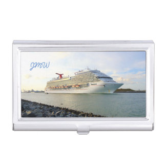 Portrait of a Cruise Ship Monogrammed Business Card Holder