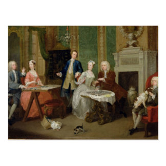 Portrait of a Family, 1730s (oil on canvas) Postcard