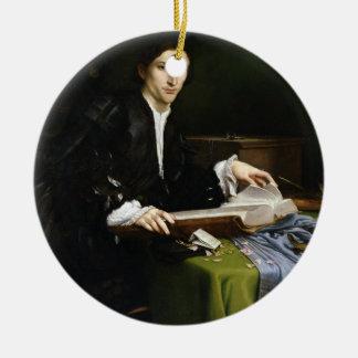 Portrait of a Gentleman in his Study, 1528-30 (oil Round Ceramic Decoration