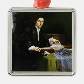 Portrait of a Gentleman in his Study, 1528-30 (oil Silver-Colored Square Decoration