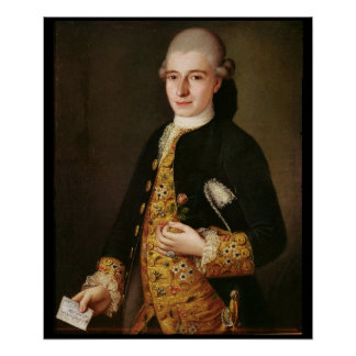 Portrait of a Gentleman with a Rose Buttonhole Poster