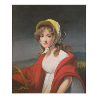Portrait of a girl wearing a red shawl print