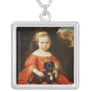 Portrait of a Girl with a Dog Silver Plated Necklace