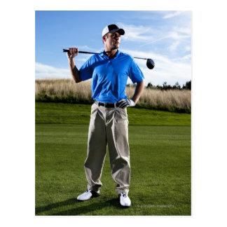 Portrait of a golfer on a sunny day. postcard