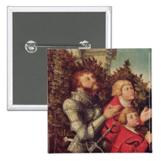 Portrait of a Knight with his two sons 15 Cm Square Badge