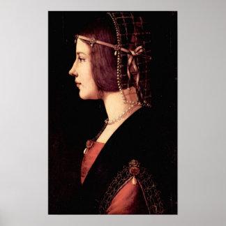 Portrait of a Lady (Beatrice d'Este) by Da Vinci Poster