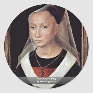 Portrait Of A Lady By Memling Hans Round Sticker