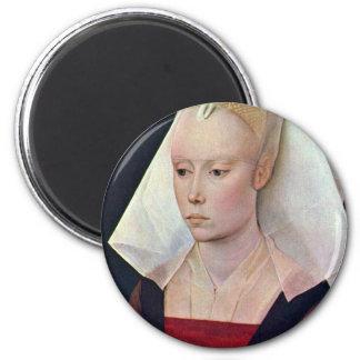 Portrait Of A Lady By Weyden Rogier Van Der 6 Cm Round Magnet