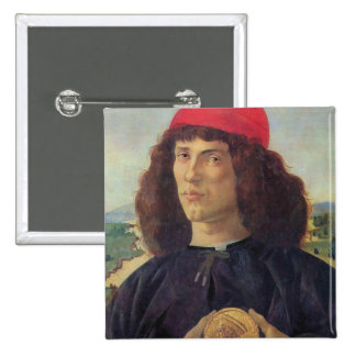 Portrait of a man with a medal of Cosimo the Elder 15 Cm Square Badge