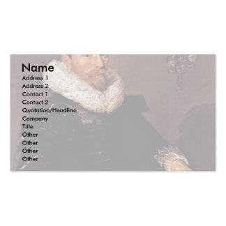 Portrait Of A Man With Pleated Collar Business Card Templates