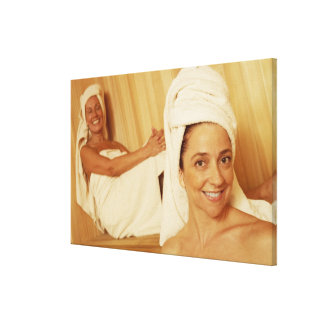 Portrait of a mature woman smiling with another stretched canvas prints