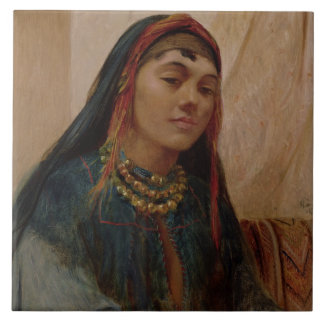 Portrait of a Middle Eastern Girl, c.1859 (oil on Large Square Tile