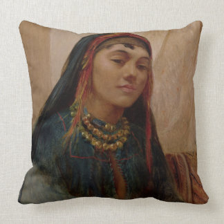 Portrait of a Middle Eastern Girl, c.1859 (oil on Throw Pillow