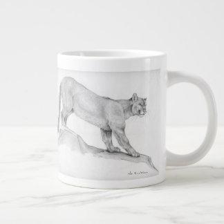 Portrait of a mountain lion large coffee mug