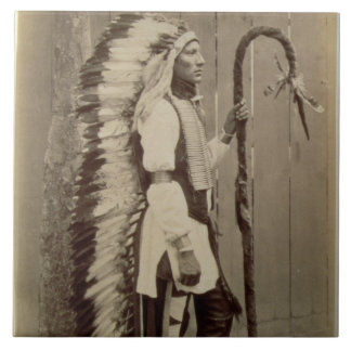 Portrait of a Native American from 'Buffalo Bill's Ceramic Tile