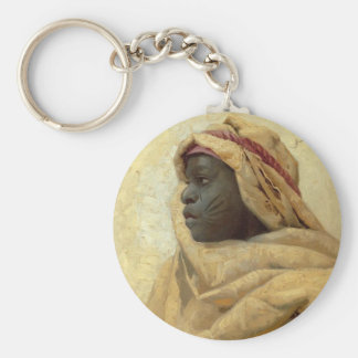 Portrait of a Nubian Basic Round Button Key Ring