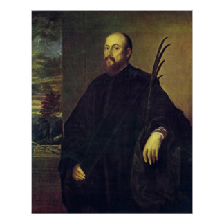Portrait of a painter with a palm tree by Titian Print