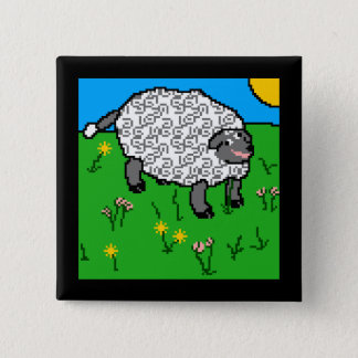 Portrait of a Sheepity-Sheep 15 Cm Square Badge