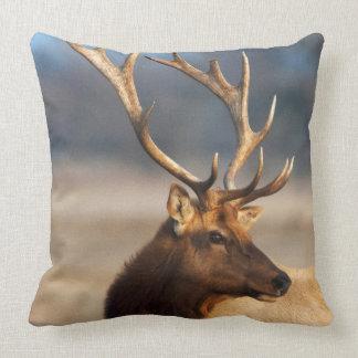 Portrait of a stunning bull elk cushion