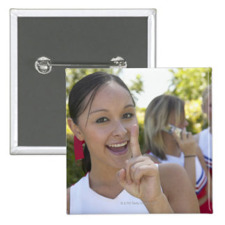 Portrait of a Teenage Cheerleader Holding a 15 Cm Square Badge