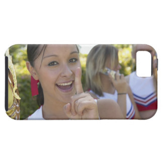 Portrait of a Teenage Cheerleader Holding a iPhone 5 Covers