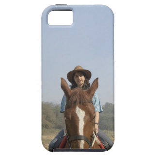 Portrait of a teenage girl riding a horse iPhone 5 case