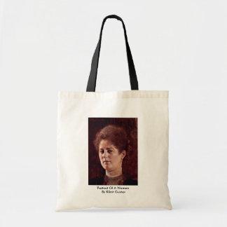Portrait Of A Woman By Klimt Gustav Canvas Bags