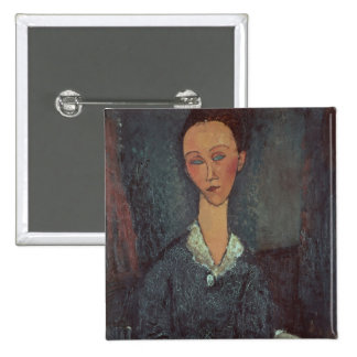 Portrait of a Woman with a White Collar (oil on ca 15 Cm Square Badge