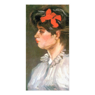 Portrait of a woman with red hairband by van Gogh Custom Photo Card