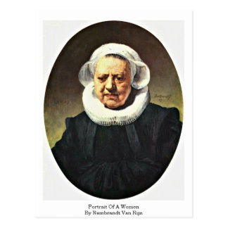 Portrait Of A Women By Rembrandt Van Rijn Postcard