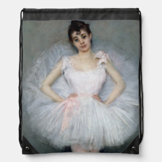 Portrait of a Young Ballerina Drawstring Bag