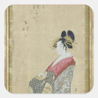 Portrait of a young courtesan square sticker