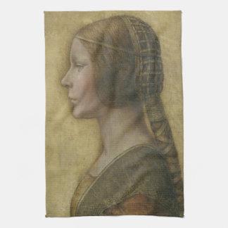 Portrait of a Young Fiancee by Leonardo da Vinci Tea Towel